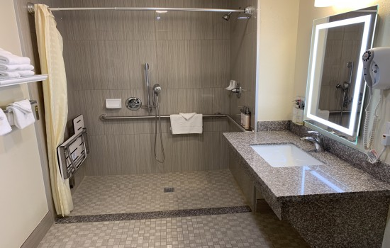 Accessible Private Bathroom With Roll-In Shower